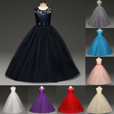 Girls Kids Flower Wedding Bridesmaid Dress Party Pageant Formal Prom Long Gown