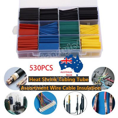 530 Pcs 2:1 Heat Shrink Tubing Tube Sleeving Kit Wrap Cable Wire 5 Color 8 Size
