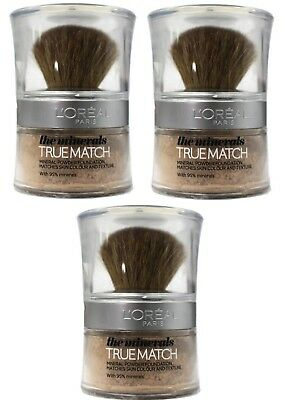 3 x LOREAL PARIS 10g TRUE MATCH MINERAL POWDER FOUNDATION W1 GOLDEN IVORY NEW