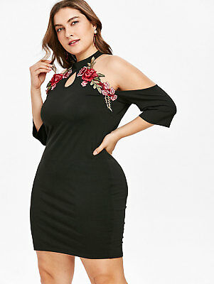 Women Floral Embroidered ABodycon Formal Evening Party Cocktail Pencil Dress
