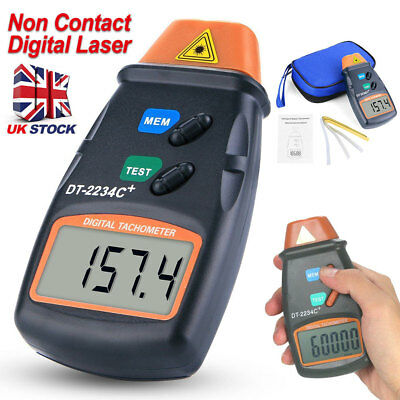 Non Contact Digital Laser LCD Photo Tachometer RPM Tach Meter Motor Speed Gauge