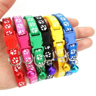 12PCS Dog Collars Pet Cat Puppy Buckle Nylon Collar with Bell 6 Colors X4A6