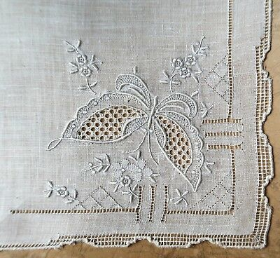 Vintage 1950s Hand Embroidered Off White Women's Handkerchief