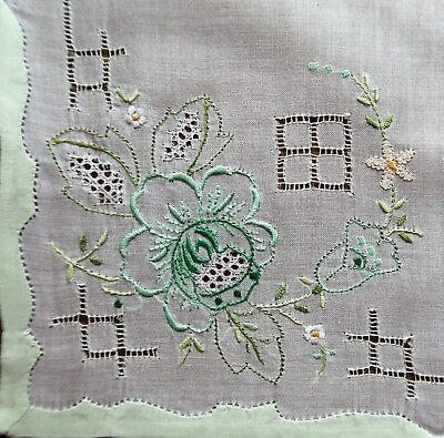 Vintage 1970s Hand Embroidered White Linen Women's Handkerchief