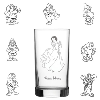Snow White & The Seven Dwarfs Engraved Glass Personalised Your Name Disney Font