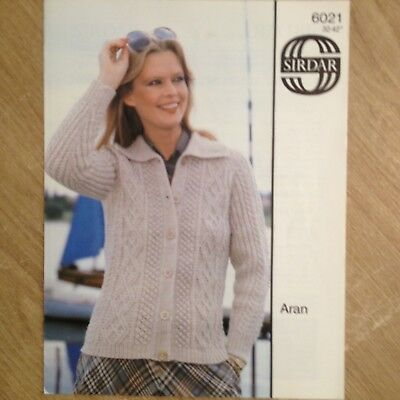 Jaeger 5080 Aran Cardigan Knitting Pattern Ladies 32 42 100
