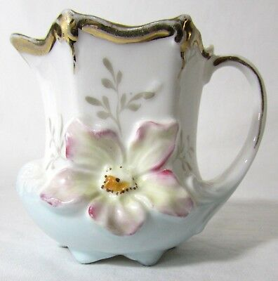 Vtg Elegant Hand Painted Porcelain Creamer Blue Pink Flowers Gold Trim 2.75 ""