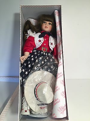 RARE Timeless Moments Paradise Galleries Cowgirl Porcelain Doll W/Stand    K1