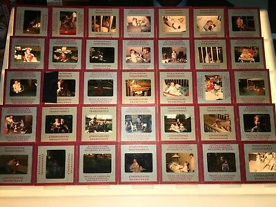Lot Of 35 Vintage Mixed Red Border Photo Slides of Children 1950's