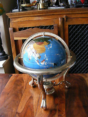 "Medium 9"" Blue Gemstone Globe Semi Precious Stones On Brass Stand With Compass"