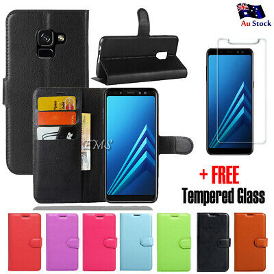 FREE Tempered Glass Wallet Leather Flip Case Cover For Samsung Galaxy A8 J8 2018