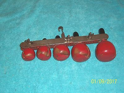 Vintage Mini Temple Blocks Latin Percussion 5 Tuned Wood Red Apples G. Cond Rare