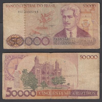 Brazil 50000 Cruzeiros ND 1984 (VG) Condition Banknote P-204a ###