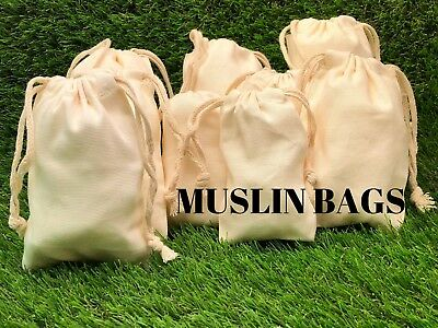 """25pcs 6/""""x8/"""" Cotton Muslin Drawstring Reusable Bags for Spices Bath Soaps Herbs"""