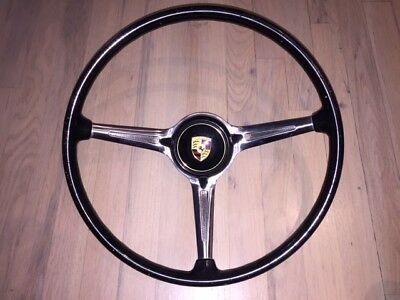 porsche 356  steering wheel complete w/center button logo RARE BLACK