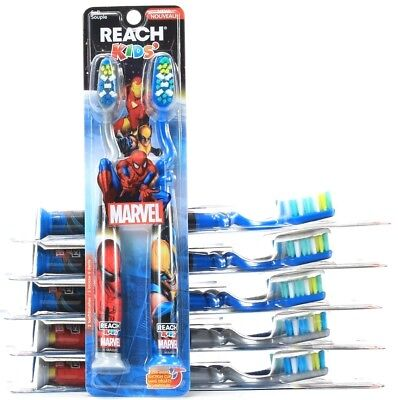 6 Reach Kids Marvel Toothbrushes Soft Bristles Bi Level Suction Cup ends