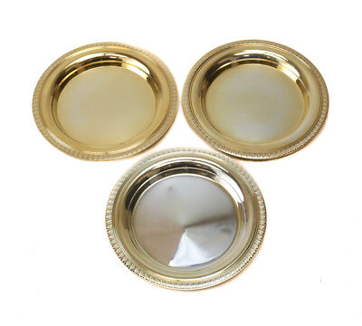 3 Christofle Silver Plate Bottle Coasters in Malmaison Gold