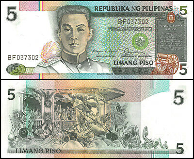 Philippines 5 Piso, 1985, P-168b, UNC, Banknote, Aguinaldos Independence