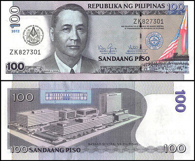 Philippines 100 Piso Banknote, 2012, P-213A, UNC, Grand Lodge of Free