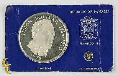 1976 Republic of Panama Proof Coins (2 pc) Franklin Mint (2 1/2c 20 Balboa) PS17