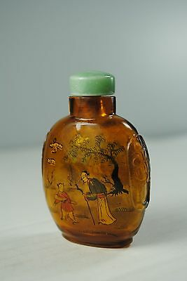 Glass Snuff Bottle Reverse Painted Amber