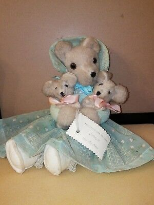 Vintage Plush Mama Bear with 2 Cubs Handmade by Maggie - Hidden Bell Toys
