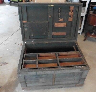 Vintage Wooden Tool Box Horse Tack Box Trunk storage Industrial Coffee Table @@@