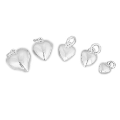 Solid 925 Sterling Silver 3D Puffy Plain Love Heart Pendant Charm 6 8 10 12mm