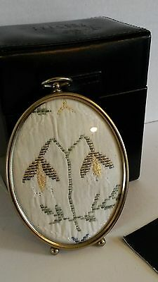 Oval Frame Vntg Snowdrop Flowers Hand Embroidered Fabric Art Textile Sepia Look