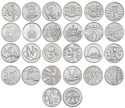 2018 British A - Z 10p Pence Coins Letter - Angel B Bond D L Loch S Alphabet Set