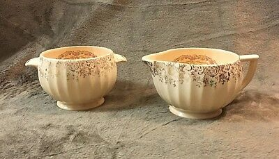 """Beautiful Creamer And Sugar Bowl In """"toledo Delight"""" Pattern By American-Limoges"""