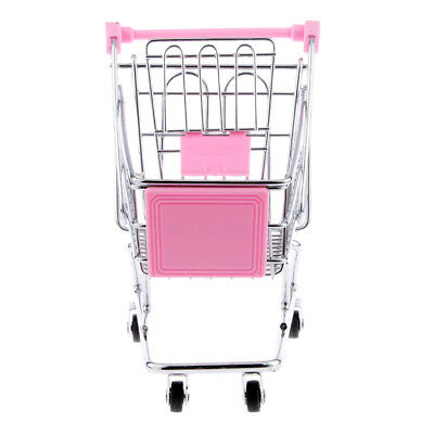 Hand Push Shopping Cart Supermarket Trolley Kid Pretend Role Play Toy Pink M