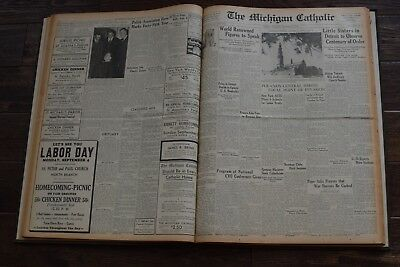 Bound Book The Michigan Catholic 1939 Detroit Newspaper Collection WWII Start