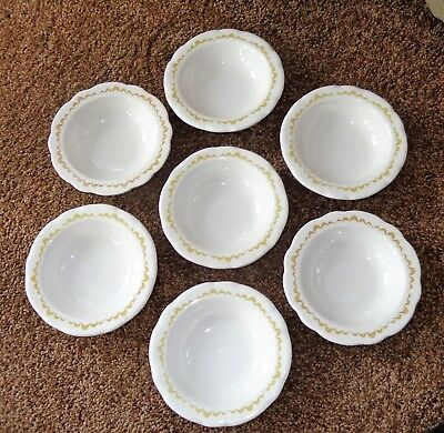 "7 Vintage Buffalo China Restaurant Berry Bowls  5 1/8"" Rim Yellow Ruffle Border"