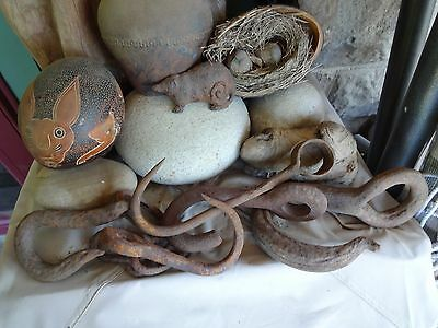 Vintage Collection of 5- Hand Forged Iron Hooks, Garden, Kitchen,Porch