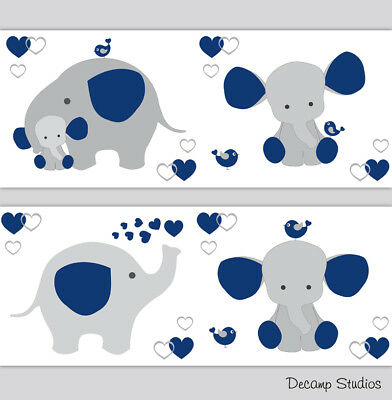 Navy Blue Elephant Nursery Wallpaper Border Baby Boy Wall Art Decals Room Decor