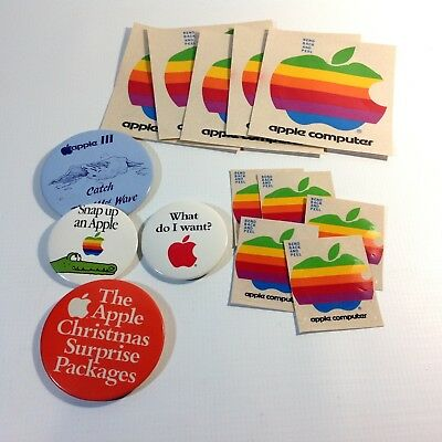 Lot of Vintage Apple Computer Stickers and Badges