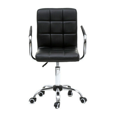 New Adjustable Office PU Leather Chair Executive Swivel Computer Desk Seat Black