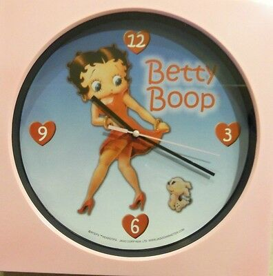 Betty Boop Pink Quartz Wall Clock Betty & Her Puppy Brand New In Box Awesome!