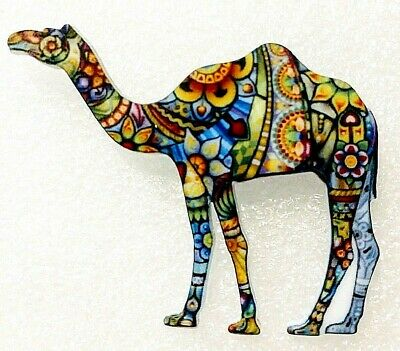 Camel Dromedary Large Multicolor Acrylic Pin Brooch Jewelry