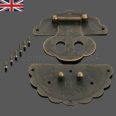 UK Antique Latch Jewelry Box Hasp Round Chest Lock Vintage Decorative w/ Screws