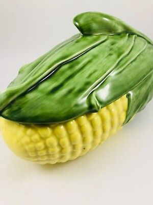 Vintage Ceramic Corn Design Covered Serving Dish