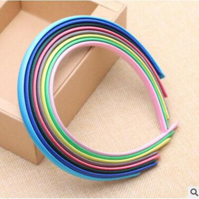 10 Mixed Color Plastic Headband Candy Covered Satin Hair Band 10mm for DIY Craft