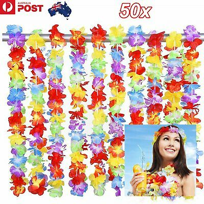 50 Pcs Hawaiian Lei Tropical Dress Flower Lei Leis Garland Necklace Party 105cm