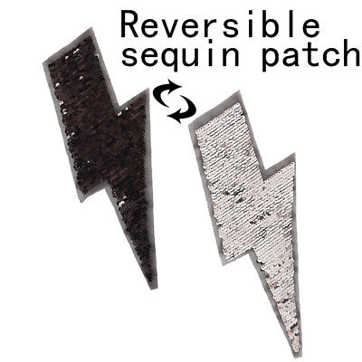 lightning reversible change color sequins sew on patch for clothes DIY appliqu X