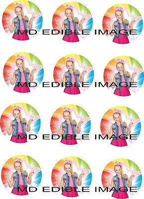 JOJO SIWA Edible Rice Paper Image Cupcake Toppers 12 X 2 Birthday Party Round