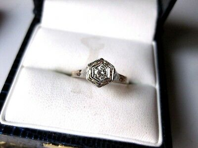 ANTIQUE 10K WHITE GOLD FILIGREE RING with FINE DIAMOND by A&S,ART DECO