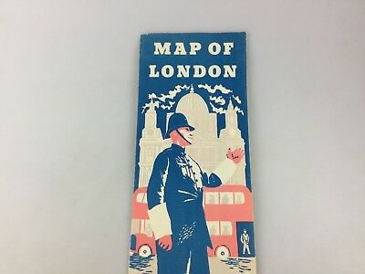 Vintage - Map Of London - Folds Out To Sightseers' Map Of London - England