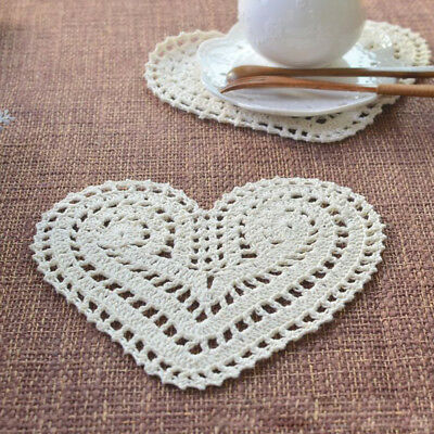 4Pcs/Lot Vintage Hand Crochet Cotton Lace Doilies Heart Shape Place Mats 20x15cm