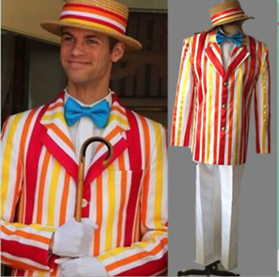 New Mary Poppins Bert Cosplay Costumes Men's Clothes Full Set